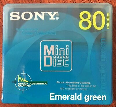 NEW Sony MiniDisc 80 Recordable Blank MD Color Collection Emerald Green SEALED