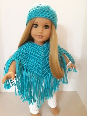 18 Inch Doll Crochet Poncho & Hat Fits American Girl Doll Made In Usa! New!