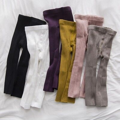 0-5Y Toddler Baby Girls Cotton Leggings Kids Solid Stripped Slim Trousers Pants