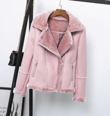 2019 Womens winter faux leather Jacket fur liner warm jacket thick coat outwear