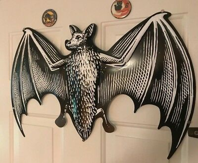 Large Black and White Halloween Bat Decoration with Wingspan Near 2 feet VAMPIRE