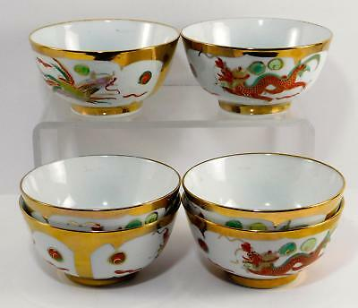 Chinese DRAGON & PHOENIX  Gold accent Soup/Rice Bowl set of 6