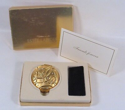 New Boxed FRIENDS FOREVER Compact, goldtone & Swarovski, Estee Lauder Lucidity