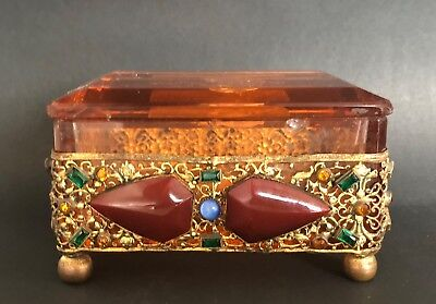 Antique Art Deco Glass Box Jewelry Mount
