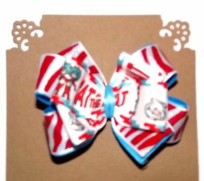 Dr Seuss THING 1 and 2 - Handmade 3 Layer Hair Bow with Non Slip Alligator Clip