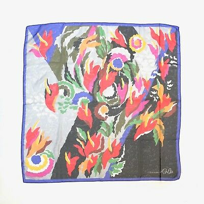 CACHAREL!!! Vintage 1980s 'Cacharel' colourful art scarf