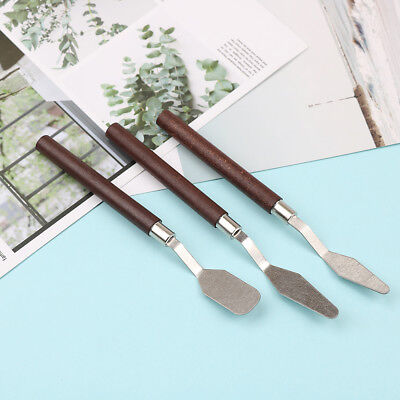 3x/set painting palette knife spatula mixing paint stainless steel art kn ZT