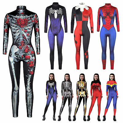 Women Adult Halloween Rose Skeleton Costume Party Fancy Play Superhero Jumpsuits