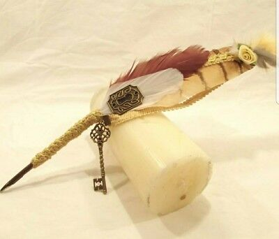 Steampunk LOTR Pagan Wedding yellow brown white quill pen