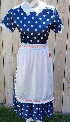 I Love Lucy Costume Size 6/8 Womens 50s Housewife Dress Apron and Wig HALLOWEEN