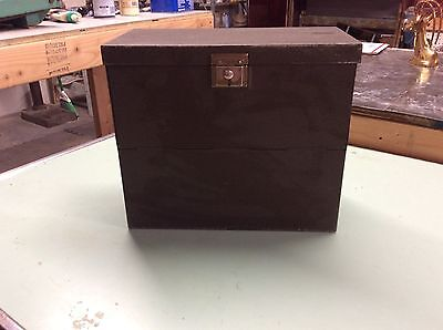 Vintage Yawman & Erbe Mfg. Record Chest Metal Drop Front with Single Handle