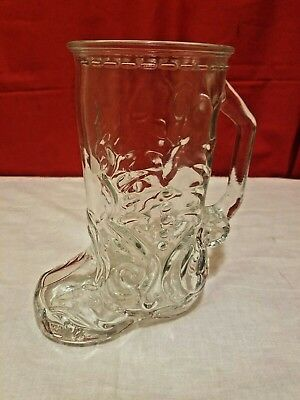Vintage Glass Western Cowboy Boot Beer Mug Libbey Of Canada No 4