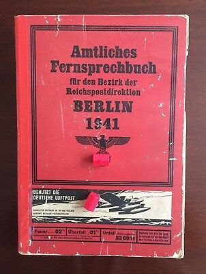 1941 Berlin Phone Book - WWII Nazi Germany - 1500+ pgs - ***EXTREMELY RARE***