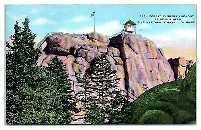 1942 Forest Rangers Lookout at Devils Head, Pike National Forest, CO Postcard