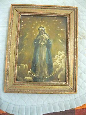 Original Antique Retablo On Tin The Immaculate Conception In Great Condition