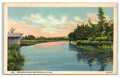 Mid-1900s Crooked River, Northern Michigan Postcard