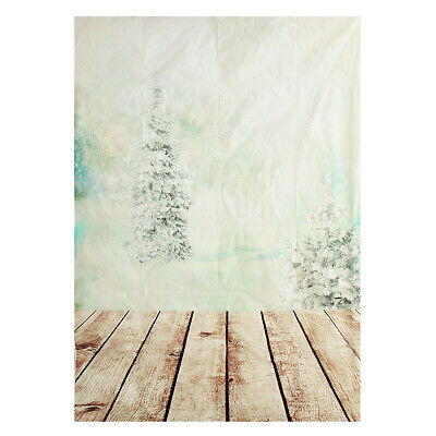 [NEW] 5X7ft Christmas Tree Wood Floor Vinyl Photography Studio Backdrop Photo Ba