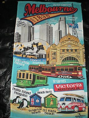 Australian Melbourne blue tram city tea towel NEW gift overseas traveler cotton