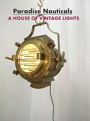 Large Industrial Style Pendant Light Antique Brass Finish For Home Decor