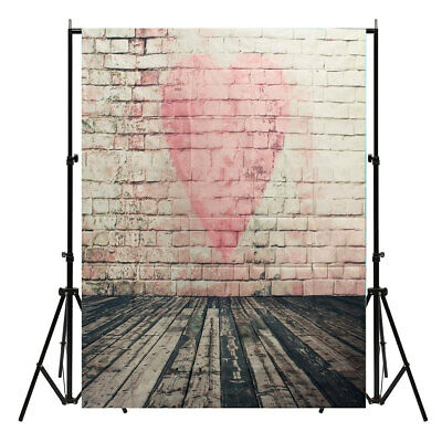 [NEW] 5x7FT Vinyl Love Heart Brick Wall Photography Background Backdrops Photo S