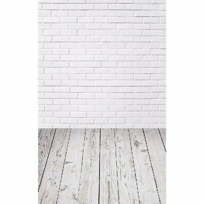 [NEW] 5x7FT Vinyl White Brick Wall Wood Floor Backdrop Studio Prop Photography B