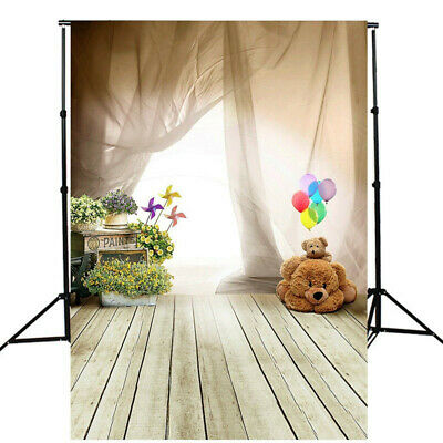 [NEW] 5x7FT Children Bear Balloon Wooden Floor Photography Studio Background Bac