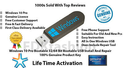 Microsoft Windows 10 Pro Key 32/64 Bit Genuine License + Bootable Usb 3.1/3.0