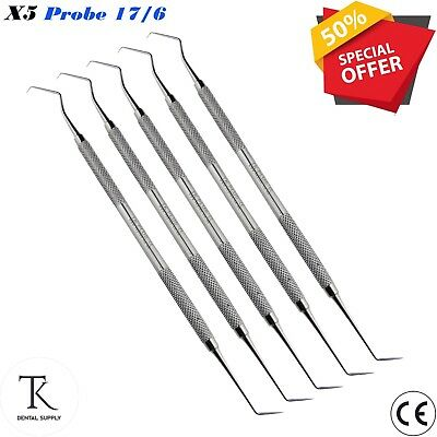 5 x Laboratory Diagnostic Instruments Probe 17/6 Dental Hygenist Examination Set