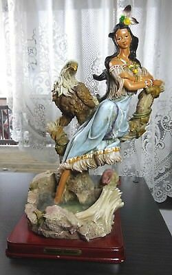 Native American Indian Female with Eagle Sculpture Collectible Resin Figurine
