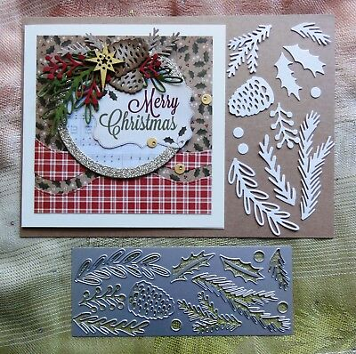 Kaisercraft Mini Christmas Foliage Leaves Branches Cutting Die Fits Sizzix
