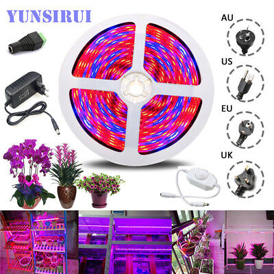 DC12V 5M 5050 LED Grow Lights LED Strip Plant Growth Light /Power Adapter/Dimmer