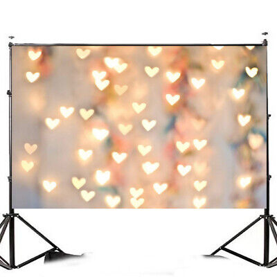 [NEW] 7x5FT Warm Heart Love Heart Light Photographic Vinyl Background Studio Bac
