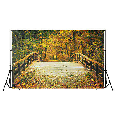 [NEW] 5x7FT Autumn Fall Bridge Photography Vinyl Background Studio Photo Backdro