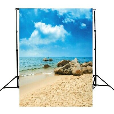 [NEW] Photography Background Vinyl Fabric Cloth Sky Beach Sand Stones 90x150cm