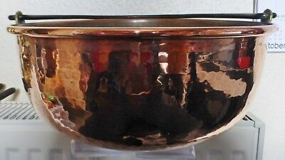 Superb Antique French Hammered Copper Hanging Cauldron / Farm House Decor
