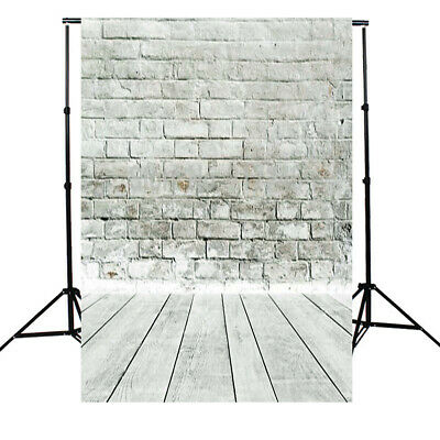 [NEW] 5x7ft White Gray Brick Wall floor Photography Background Backdrop Photo St