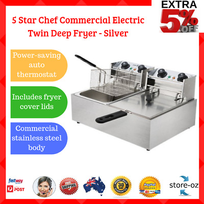 5 Star Chef Commercial Silver Electric Twin Deep Fryer Twin Frying Basket Cooker