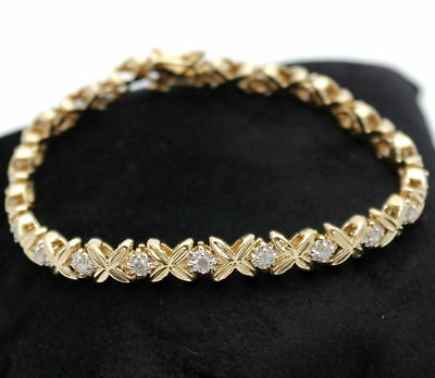 Wert 2770,- Elegantes 1,12 Ct Brillant Tennis Reviere Armband 585 / 14 Kt Gold