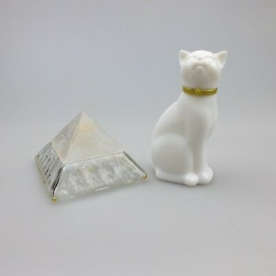 2 x Vintage AVON Perfume Bottles – White Glass Cat & Egyptian Pyramid