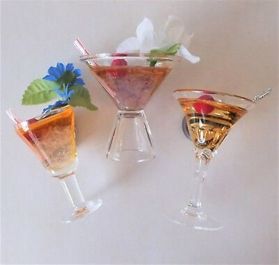 3 x Cocktail 3D Drink Glasses Collectible Fridge Magnets