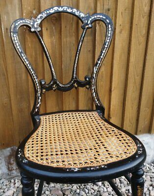 Victorian bedroom chair, mother of pearl inlay, gilt accents, antique chair, can