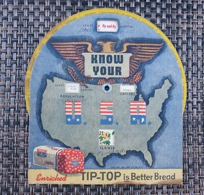 "Trivia Fact Wheel ""Know Your USA"" States Tip-Top Bread Advertising Vintage"