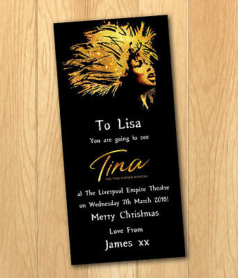 Tina Turner The Musical Gift Card Voucher Present Christmas Birthday Ticket