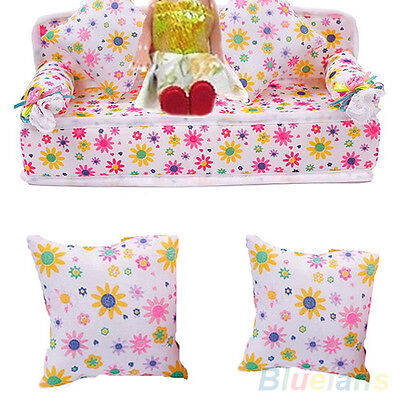 Ac_ Sale! Mini Furniture Flower Sofa Couch With 2 Cushions For Barbie Doll House