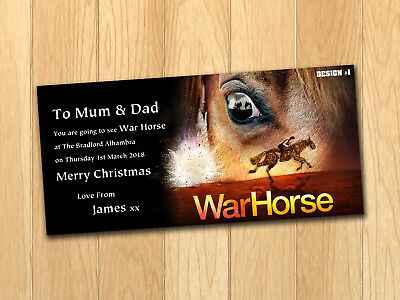 War Horse Gift Card Voucher Present Christmas Birthday Ticket with envelope