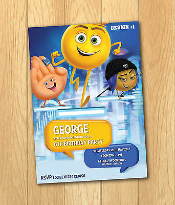12 Emoji Movie Personalised Party Invite A6 Photo