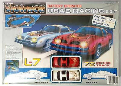 Vintage 1980's SLOTRACE L-7 Slot Race Battery Operated ROAD RACING Set - BNIP