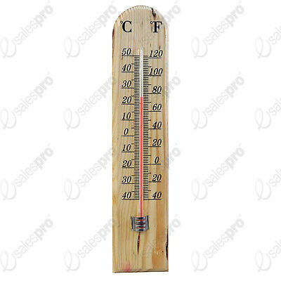 Wooden outdoor garden thermometer °C / °F display