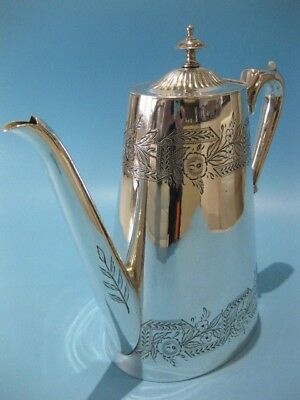 Stunning and Elegant Antique Large Ornate Silver Plated Tapered Coffee Pot