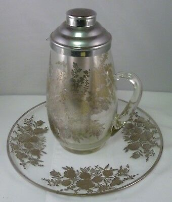 Vintage 1950's Sterling Silver Floral Overlay Pitcher with Matching Undertray
